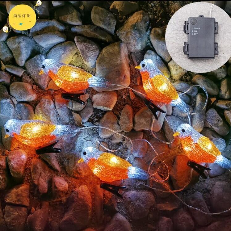 【🚀🚀居家照明】🎉新品高度還原LED小鳥燈亞克力動物裝飾燈一組五個防水電池盒窗帘燈LED太陽能聖誕節、聚會節日燈串