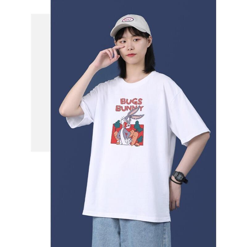 女春夏新款短袖T恤蘿蔔兔子 可愛 百搭 純色 半袖衫 爆款網紅女T恤