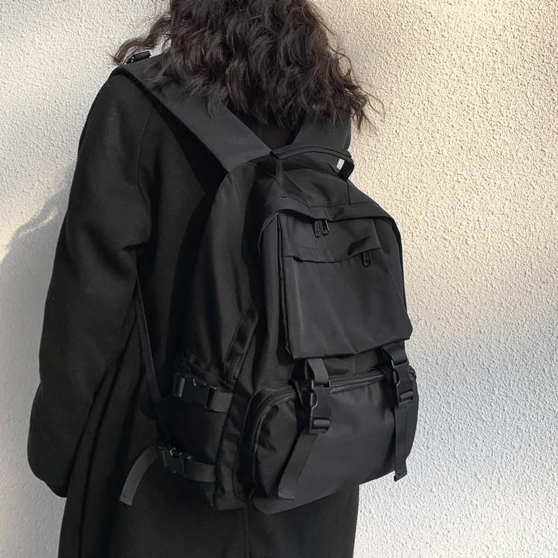 日系ins風暗黑系書包女高中校園大容量背包大學生工裝風雙肩包男 MIZ6