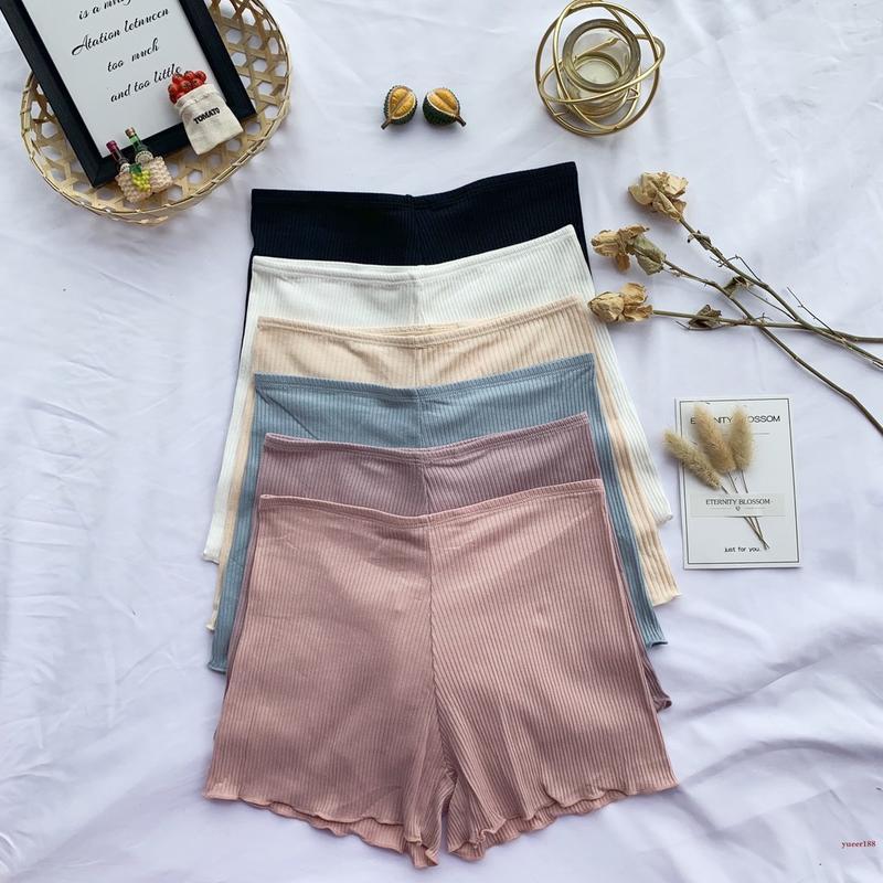 舒適時尚流行款夏季時尚女包臀性感安全褲防走光螺紋卷邊可外穿打底褲純棉保險褲