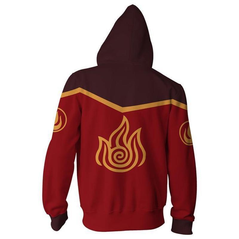 新款阿凡達最后一個風向標火焰國家拉鏈連帽衫3D數碼印花衛衣