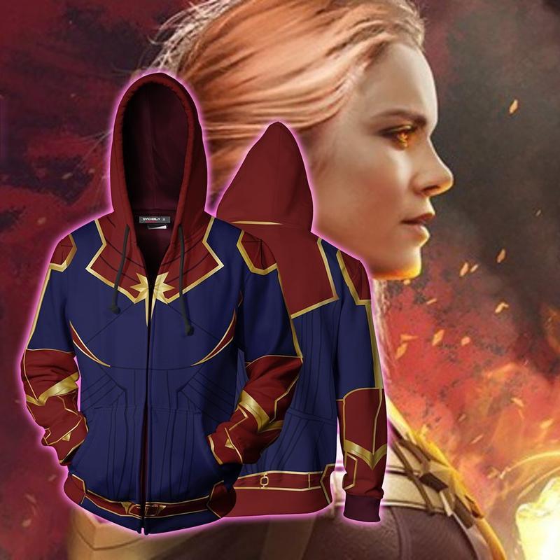 新款漫威復仇者聯盟驚奇隊長cosplay拉鏈衛衣3D數碼印花套頭連帽