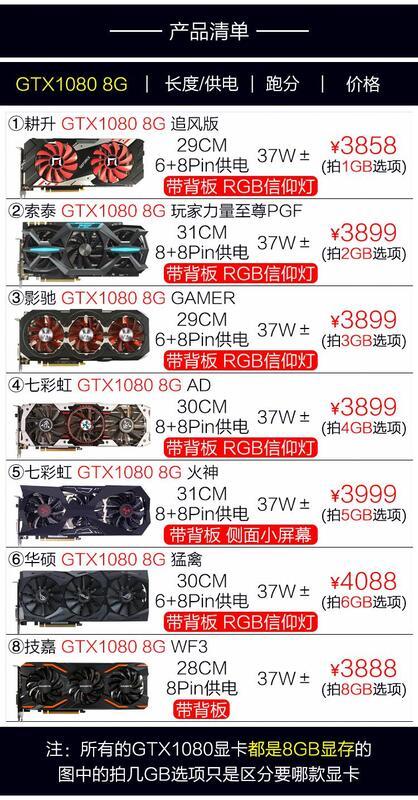 現貨網吧拆機GTX1080 8G 1080TI 11G 電腦獨立顯卡遊戲二手N卡