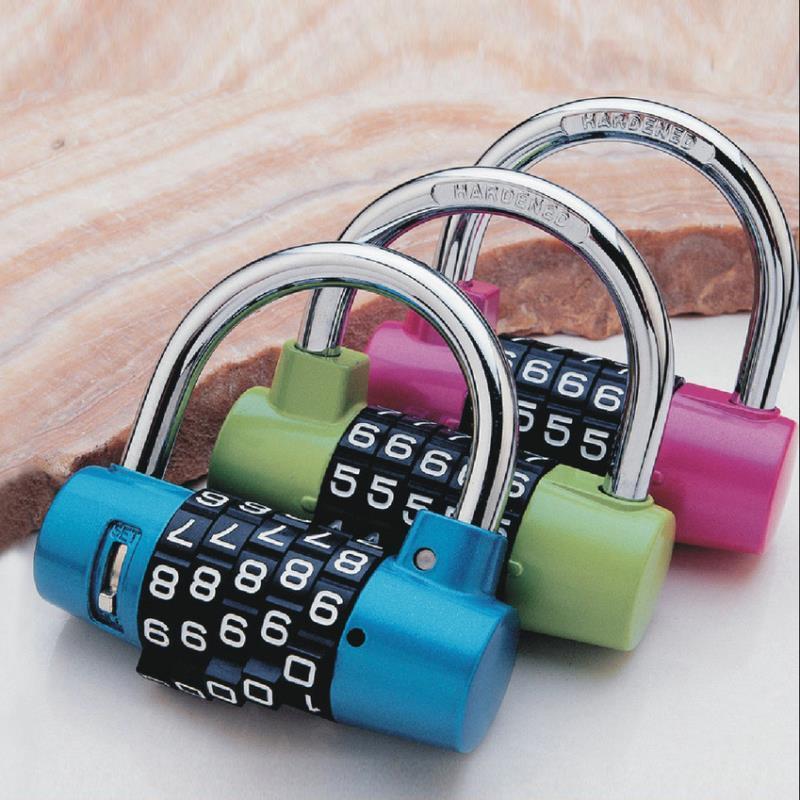 家用密碼鎖掛鎖健身房衣柜防盜鎖定制LOGO彩色5位密碼鎖掛鎖