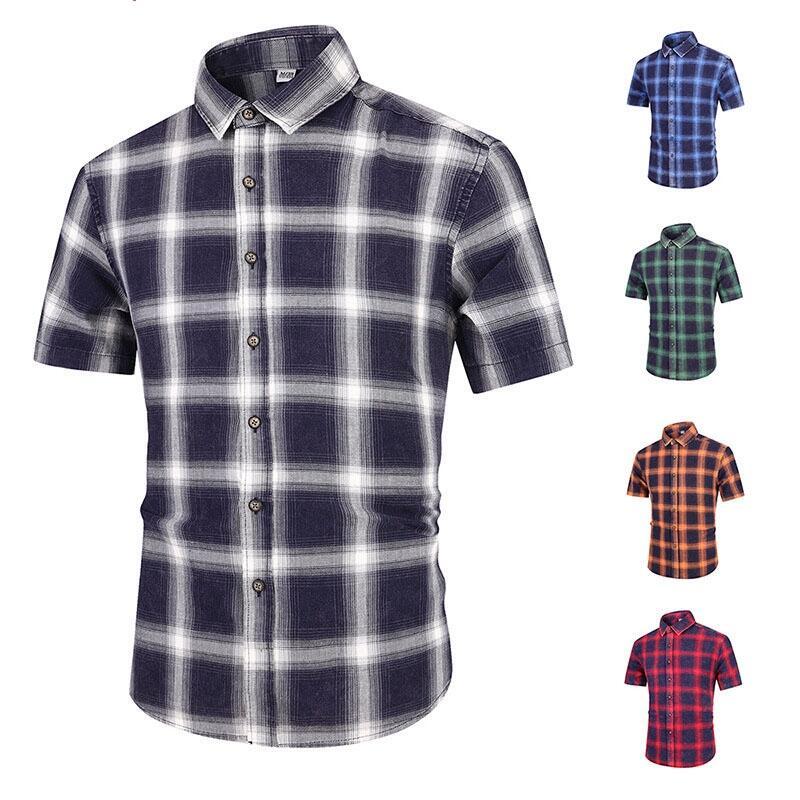 【ER】男短袖襯衫 新款短袖 全棉色紡格子韓版修身休閑襯衫 大碼襯衫 男生衣着 格紋襯衫 商務休閑襯衫