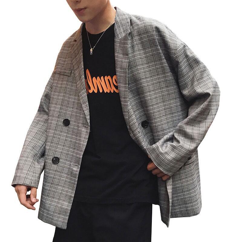 現貨 高品質 秋季新款男生格紋西裝外套 韓版西裝外套 寬版西服 學生時尚百搭休閒小西裝外套 男女同款情侶裝格子單西服上衣