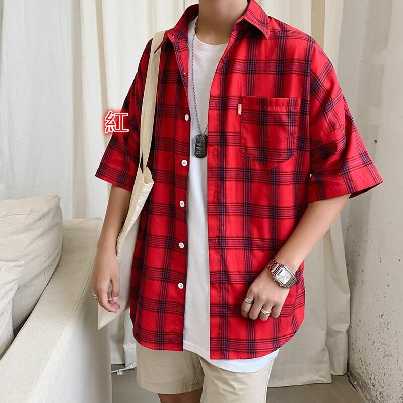 【現貨】襯衫 格子襯衫 日系復古2019夏季新款格子短袖襯衫 五分袖襯衫 落肩襯衫 大尺碼襯衫 襯衫外套 男生衣著