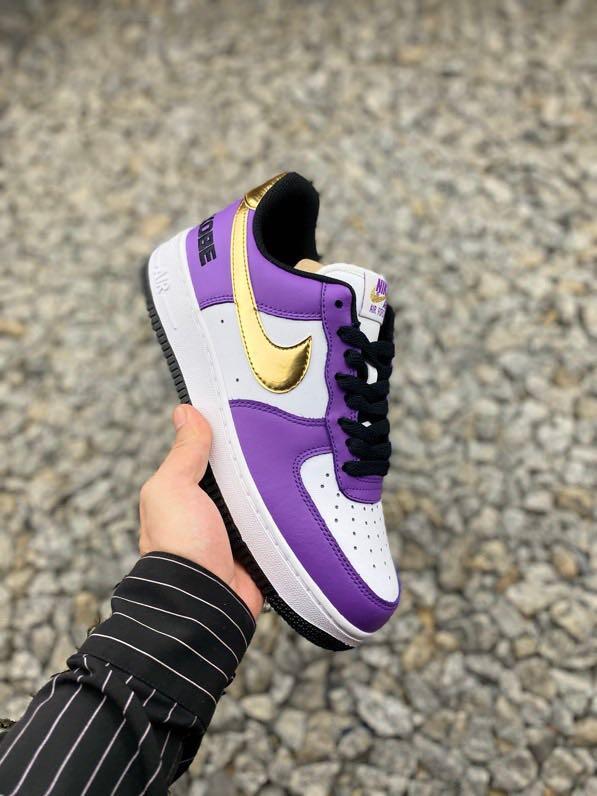 """Nike Air Force 1 '07  """"Kobe"""" 科比紫金限定  冠軍紀念款空軍一號低幫休閑板鞋"""