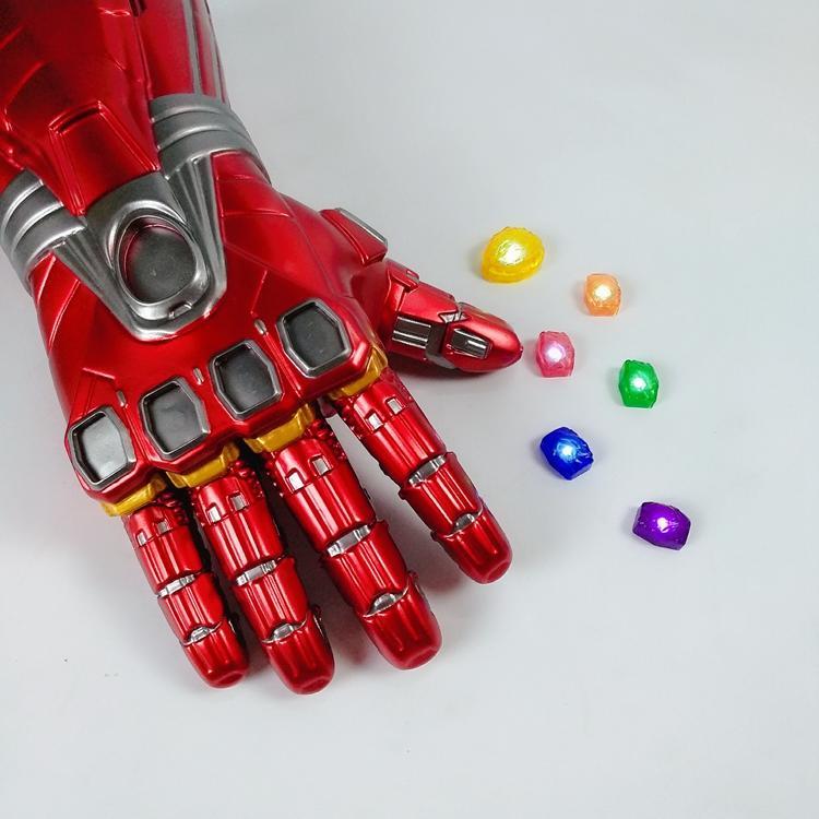 新品熱賣鋼鐵俠發光手套復仇者聯盟滅霸無限手套可穿戴寶石可卸鋼鐵俠手臂