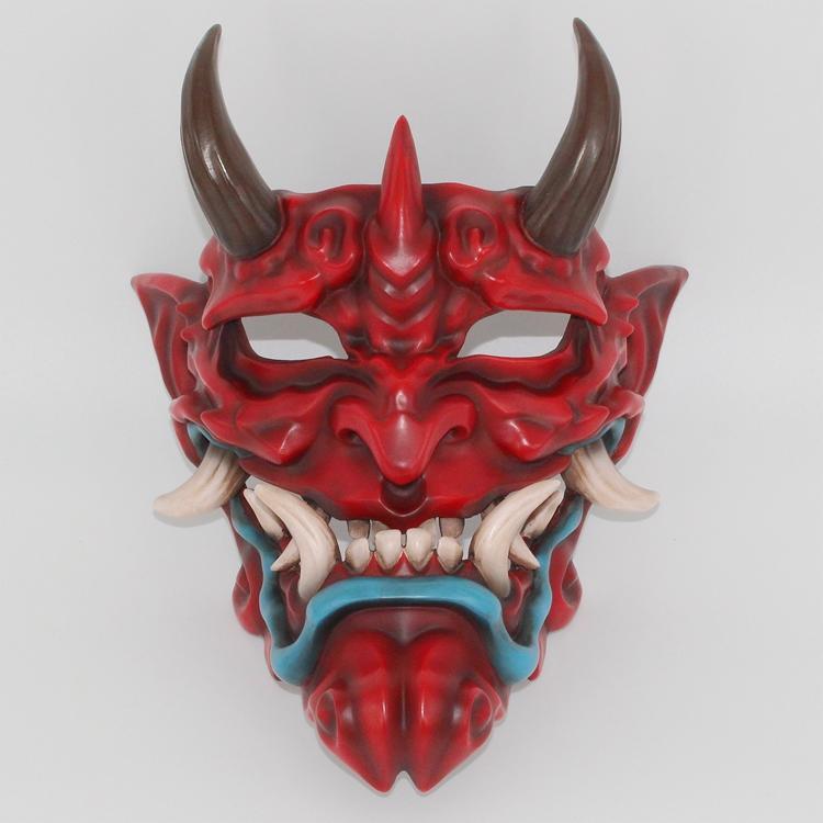 新品熱賣赤般若面具cos日系能劇能面具小面鬼臉獠牙樹脂赤武般若面具掛件