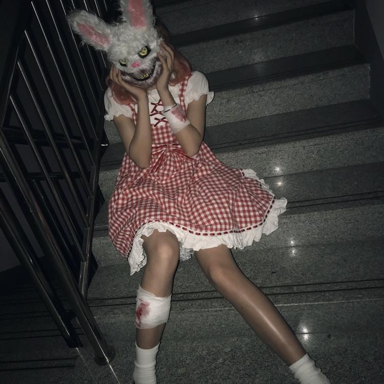 新品熱賣殺手兔面具cos兔人面具萬圣節恐怖血腥兔子面具抖音同款 兔臉面具