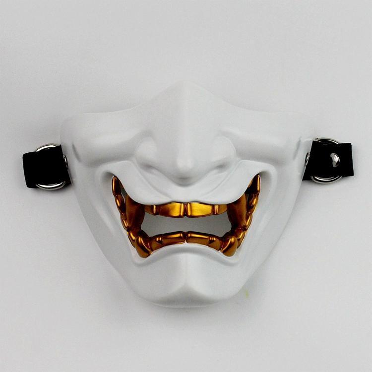 新品熱賣般若面具日本cos笑面虎魔萬圣節恐怖女鬼可戴眼鏡男半臉般若面具