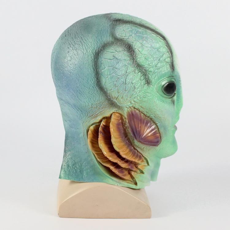 新品熱賣電影黑湖妖譚魚人cos萬圣節恐怖乳膠魚怪物頭套 酒吧舞會派對道具