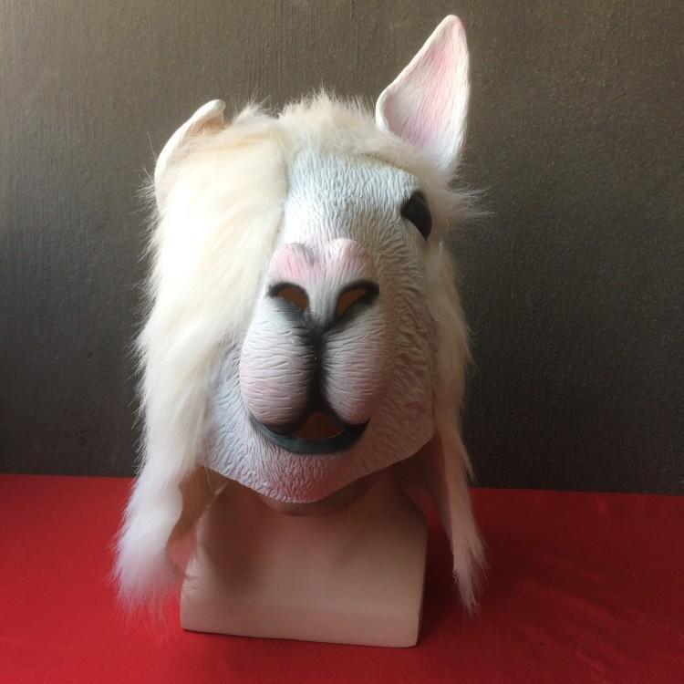 新品熱賣孫楠蒙面歌王 羊駝頭套cos好聲音唱將演出面具直播主道具可放話筒