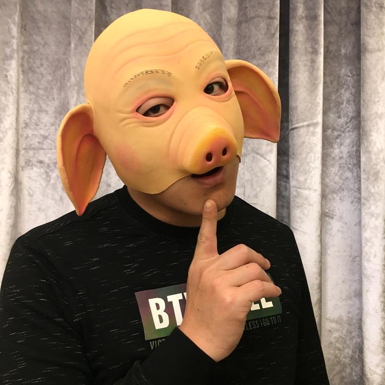 新品熱賣豬八戒面具cos唐僧孫悟空豬動物頭套萬圣節酒吧派對抖音婚慶道具