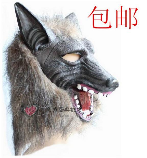 新品熱賣萬圣節面具動物面具野獸狼面具頭套狼頭狼人狼手套化妝舞會道具