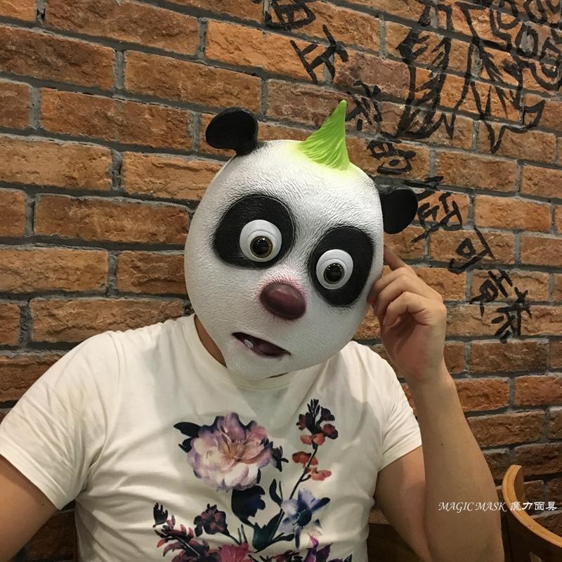 新品熱賣熊貓頭套面具兒童演出道具包郵cosplay熊貓頭套公仔 搞笑表演道具