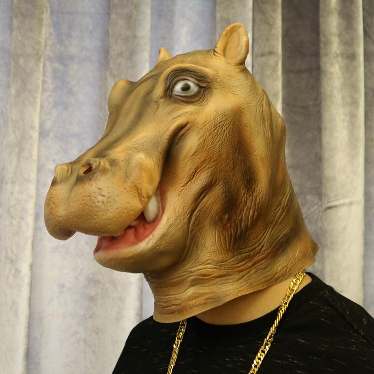 新品熱賣萬圣節動物面具頭套cosplay河馬乳膠成人面具直播化妝舞會表演