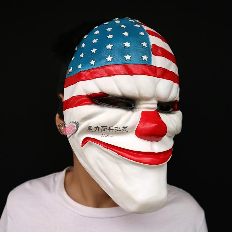 新品熱賣游戲收獲日2樹脂面具Dallas外貿貨源劫匪小丑角色扮演面具