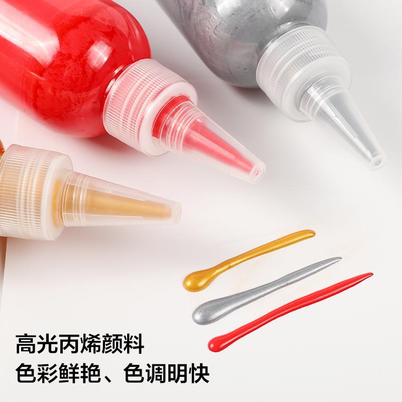 新品熱賣diy涂鴉畫顏料 丙烯顏料 兒童用高光丙烯顏料瓶裝三色