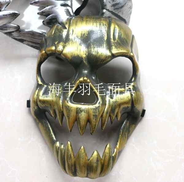 新品熱賣萬圣節恐怖面具鬼面具2015新款嚇人面具仿古金銀色面具全臉骷髏