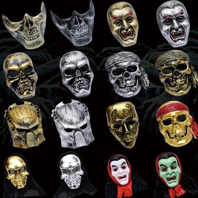 新品熱賣萬圣節面具女舞會表演道具男士兒童電影恐怖骷髏惡魔僵尸面具頭套