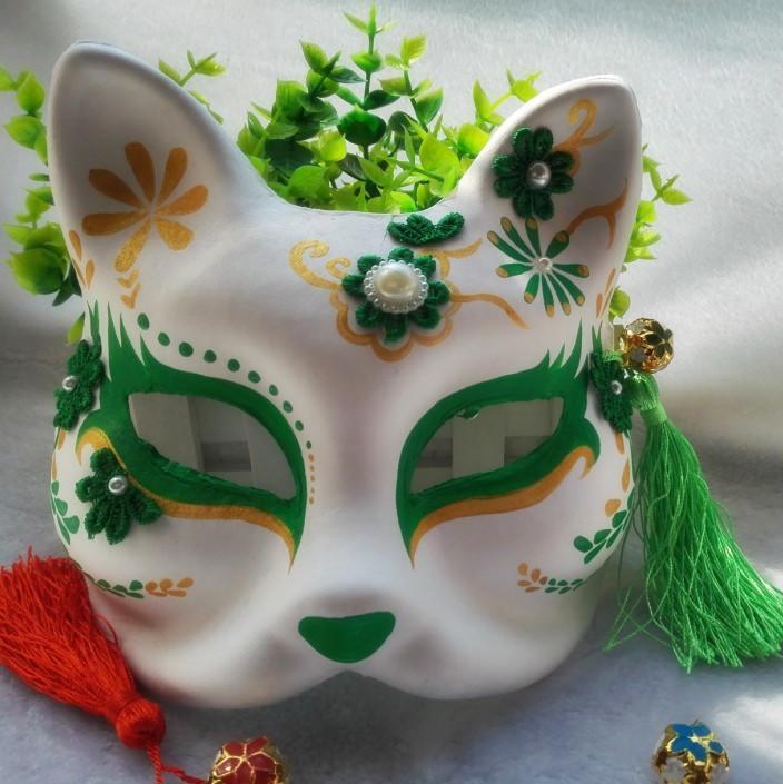 新品熱賣COSPLAY道具狐貍面具 和風手繪日式玉面妖狐/貓頭飾 狐貍手繪面具