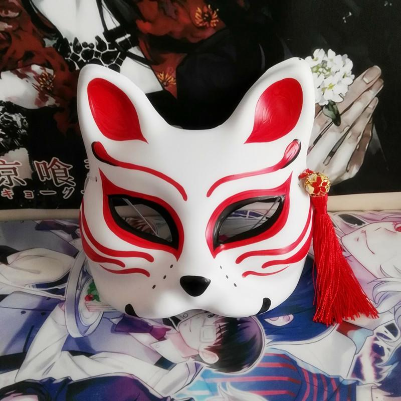 新品熱賣碧藍航線 山城同款面具,cos精選 艦娘手繪狐貍面具 半臉狐貍面具