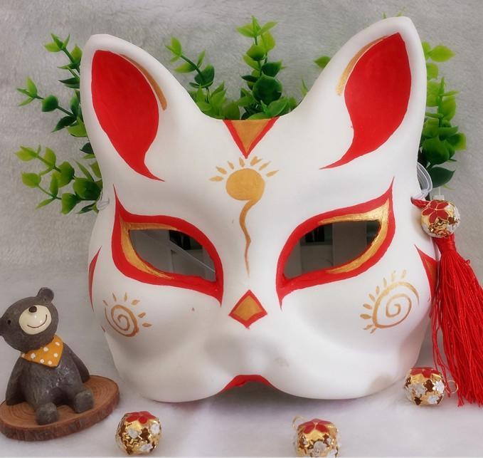 新品熱賣抖音離人愁同款面具 快手直播面具 搞怪表演面 網紅手繪狐貍面具