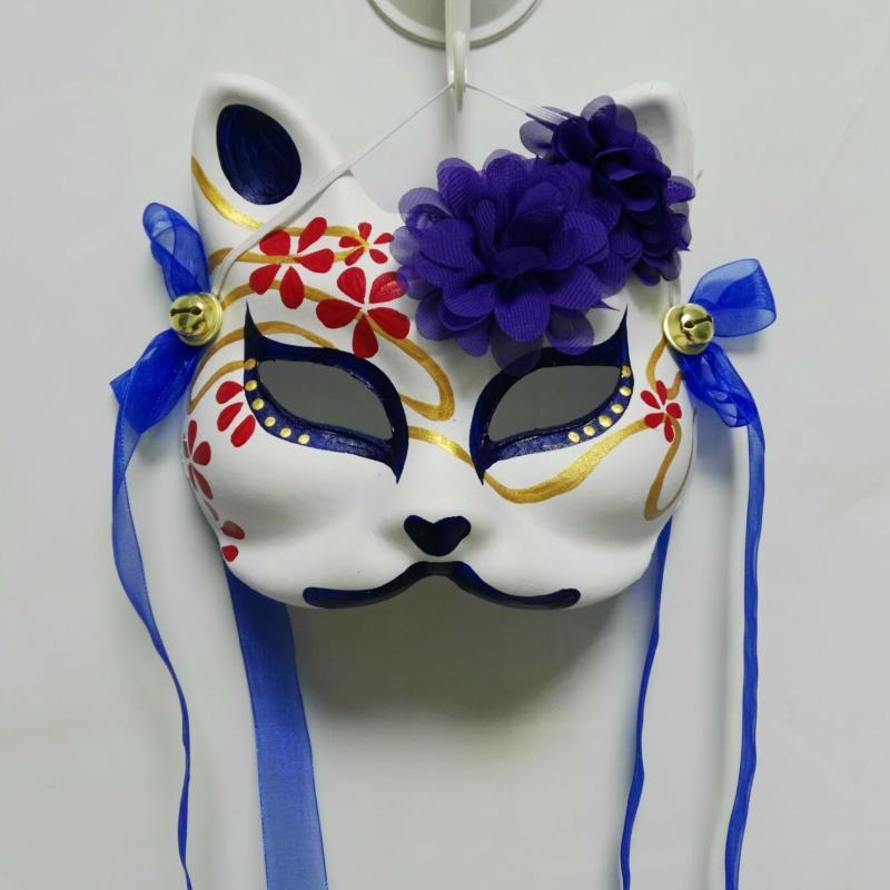 新品熱賣原創手繪日式和服狐貍貓貼花面具動漫cos雪紡絲帶鈴鐺掛墻飾面具