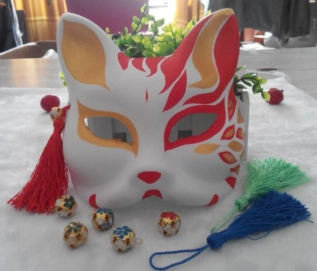 新品熱賣日本狐貍面具 狐妖面具 和風手繪 紙漿手繪面具 美女妖狐面具