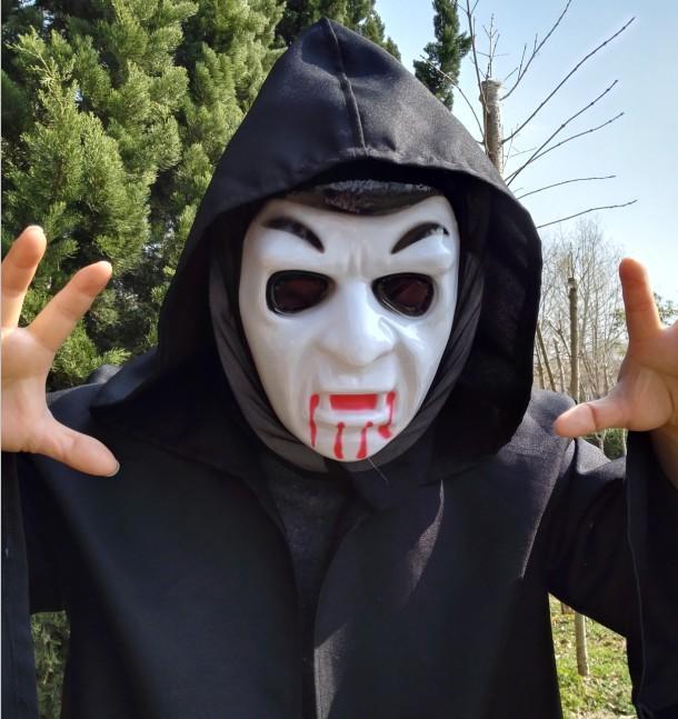 新品熱賣萬圣節恐怖鬼臉整人頭套面具單片魔鬼節面具尖叫舞會道具防遠光燈