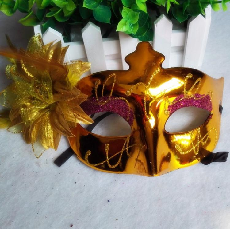 新品熱賣兒童節街舞面具成人男女彩繪側花帶眼影面具彩繪公主面具表演面具