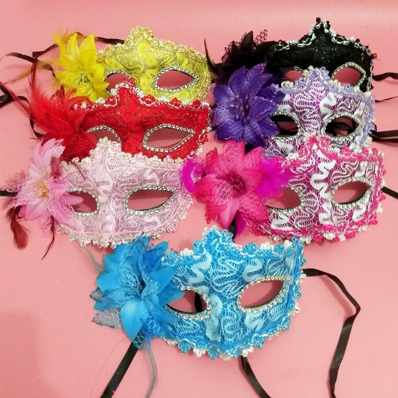 新品熱賣萬圣節面具女半臉成人派對化妝舞會公主性感cos酒吧花朵道具兒童