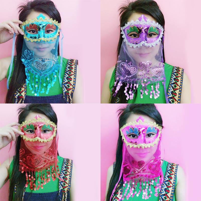 新品熱賣萬圣節面具女化妝舞會派對公主性感情趣發光成人全半臉兒童面具男