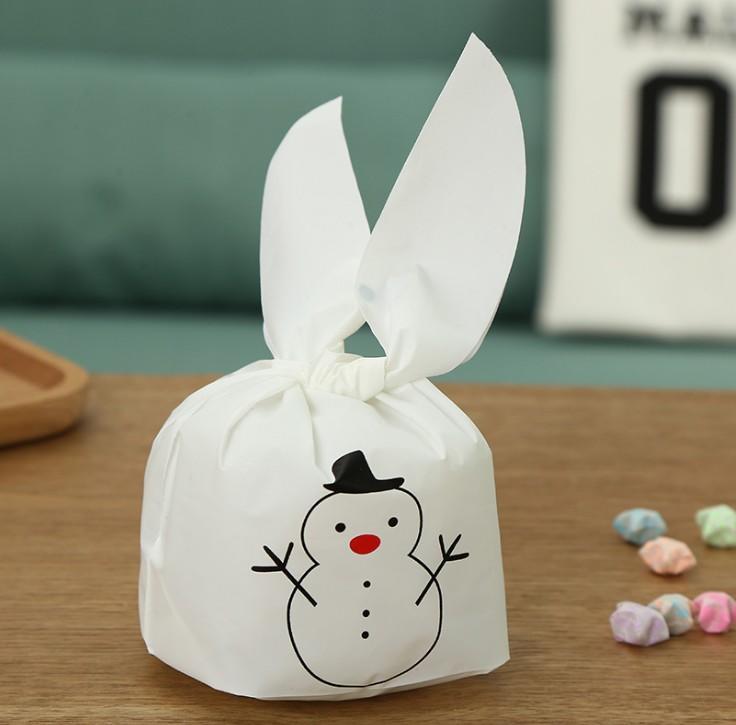 圣誕包裝袋16*23cm圣誕雪人兔耳朵點心袋面包糖果曲奇餅干袋 50枚