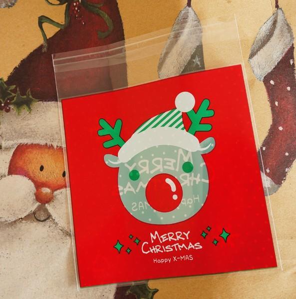 圣誕糖果袋 圣誕老人 麋鹿自封包裝袋小點心餅干袋 100枚
