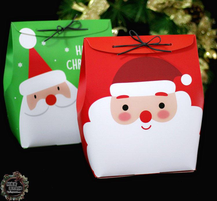 經典圣誕老人手提袋紙袋皮繩袋圣誕紙盒禮物盒禮品包裝盒糖果餅干