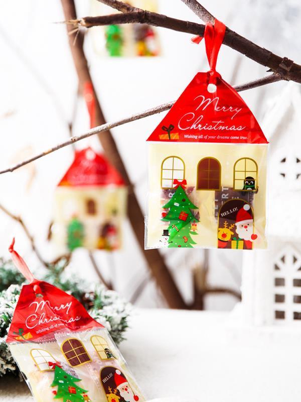 50個圣誕老人麋鹿禮品包裝袋牛軋糖餅干袋子雪花酥糖果牛扎餅自封
