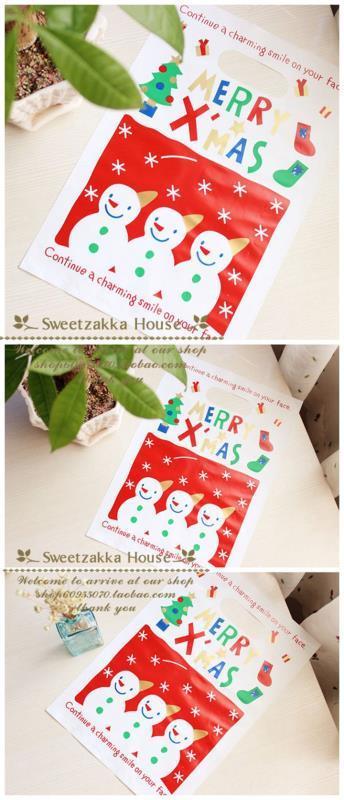 50個價 日本原單可愛三個小雪人圣誕禮品包裝袋/手拎袋/糖果袋