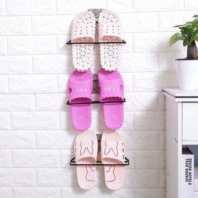 良居小鋪 創意無痕黏貼墻壁掛式鞋架 涼鞋架 拖鞋架 掛墻鞋子收納架 簡易拖鞋架 節省空間 美觀 居家收納