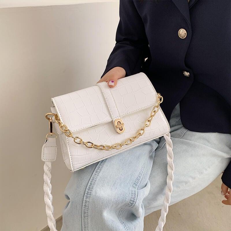 【韓妞必備】現貨北包包鏈條腋下包女包2021新款潮簡約時尚單肩小方包鱷魚紋斜挎包 學院風 歐美時尚英倫風