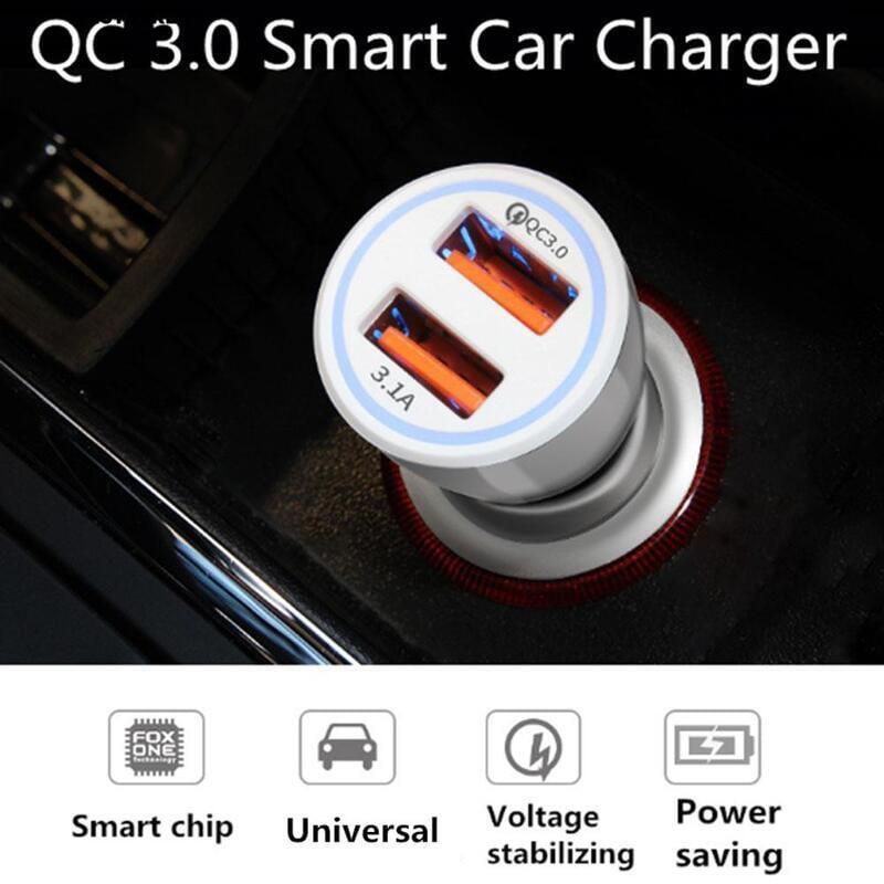 星業商貿∮【新品下殺6A QC 3.0光環車充雙USB線路QC3.0  3.1A車載充電器點煙器 汽車周邊 汽配周邊