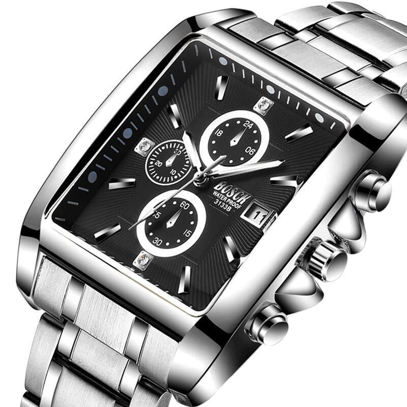 【2021歐美】現貨正品保西尼手錶時尚男士運動腕錶方形韓版學生