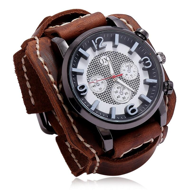 2020 年新款復古男士袖口手錶寬皮錶帶計時碼表運動時尚朋克風格石英手錶男士五色
