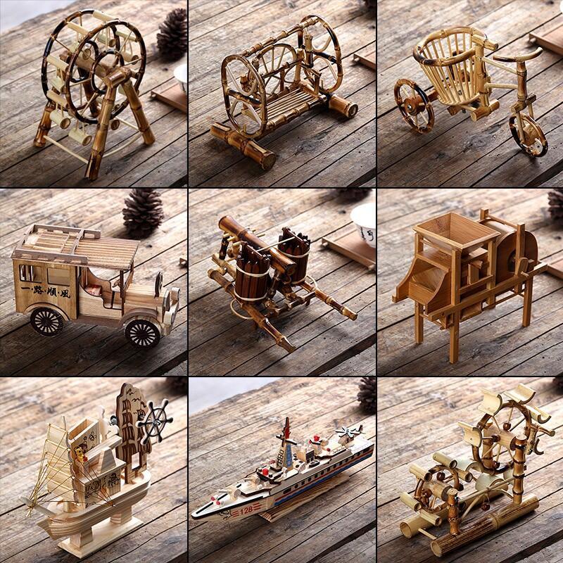 竹木工藝品擺件兒童玩具創意轉運輪桌面風車水車仿真模型家具擺設