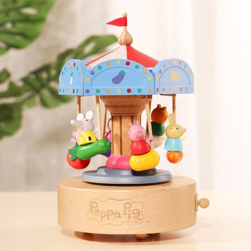 小豬佩奇旋轉木馬八音盒送男女生兒童生日禮物手工木質音樂盒擺件