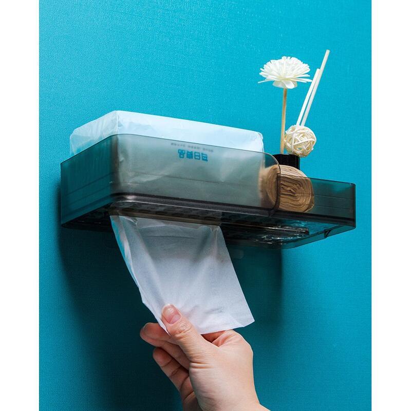 HoHo收納系列 免打孔浴室卷紙架 衛生間壁掛紙巾盒 廁所雜物置物架 放廁紙盒 紙巾收納盒 透明置物架