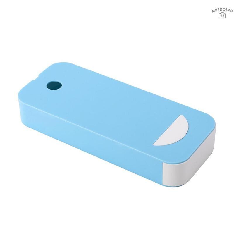 MUS  隱藏式塑膠鉛筆文具盒辦公桌板塑膠收納盒櫃內抽屜式粘貼收納盒藍色
