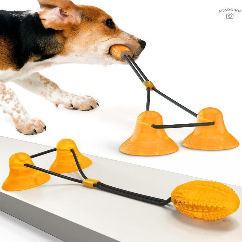 MUS  SLS-01 寵物狗狗雙吸盤拉繩磨牙啃咬訓練玩具(雙橙B款)